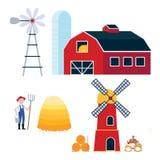Platteland harvestind en de landbouw de bouw en hulpmiddelenreeks vector illustratie