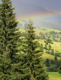 Platteland met regenboog Stock Afbeeldingen