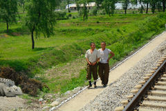 Platteland, Noord-Korea Stock Foto