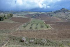 Platteland in Sicilië royalty-vrije stock foto
