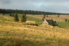 Platteland van bergen in Tsjechische Republiek Stock Foto's