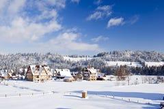 Platteland in wintertijd Royalty-vrije Stock Foto