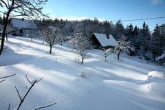 Plattelandshuisje in de winter Royalty-vrije Stock Foto