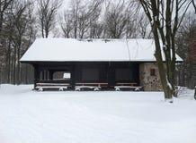 Plattelandshuisje in de wintersferen Royalty-vrije Stock Afbeeldingen