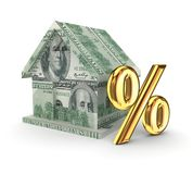 Plattelandshuisje en gouden percentssymbool. Stock Foto