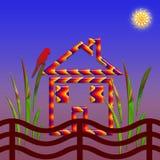 Plattelandshuisje in het dorp Stock Afbeelding