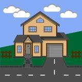 plattelandshuisje Huis Two-storey huis met een garage Royalty-vrije Stock Foto