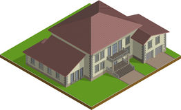Plattelandshuisje, isometrisch Landgoed vector illustratie