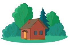 Plattelandshuisje met bomen Stock Foto's