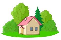 Plattelandshuisje met bomen Royalty-vrije Stock Afbeeldingen