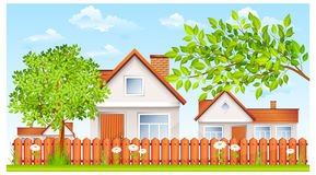 Plattelandshuisje met omheining en tuin royalty-vrije illustratie