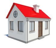 Plattelandshuisje met rood dak op witte achtergrond Royalty-vrije Stock Afbeelding