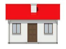 Plattelandshuisje met rood dak op witte achtergrond Royalty-vrije Stock Afbeeldingen