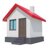 Plattelandshuisje met rood dak op witte achtergrond Royalty-vrije Stock Foto's