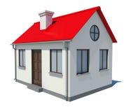 Plattelandshuisje met rood dak op witte achtergrond Royalty-vrije Stock Fotografie