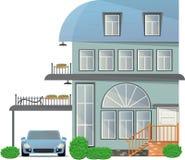 Plattelandshuisje met vier verdiepingen met een terras en een balkon en een tent voor de auto Vector illustratie royalty-vrije illustratie