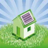 Plattelandshuisje met zonnepanelen in natuurlijk landschap vector illustratie