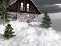 Plattelandshuisje op de bovenkant van sneeuwberg Royalty-vrije Stock Foto
