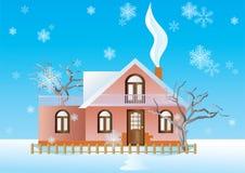 Plattelandshuisje op de de winterachtergrond. Stock Afbeelding