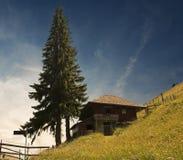 Plattelandshuisje op een heuvel Stock Foto