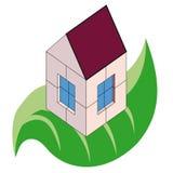 Plattelandshuisje over groen blad royalty-vrije illustratie