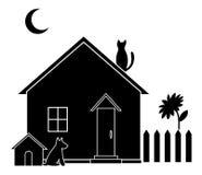 Plattelandshuisje, silhouet vector illustratie