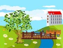 Plattelandshuisjehuis met rode daken in groene heuvels, houten brug over rivier schone groene invironment, platteland, vector illustratie