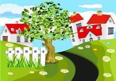 Plattelandshuisjehuis met rode daken in groene heuvels, houten brug over rivier schone groene invironment, platteland, royalty-vrije illustratie