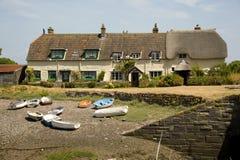Plattelandshuisjes bij Porlock-Waterkering, Engeland Royalty-vrije Stock Foto's
