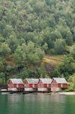 Plattelandshuisjes in Fjorden royalty-vrije stock afbeelding