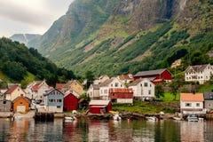 Plattelandshuisjes van de commune op de fjord, die van een veerboot worden gefotografeerd die van de sightseeingscruise in de zom stock foto's