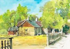 Plattelandshuisjewaterverf hand het getrokken schilderen stock afbeelding