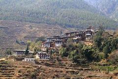 Plattelandshuizen, Bhutan Stock Afbeelding