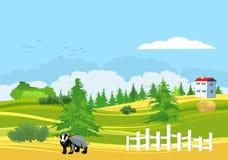 Plattelandslandschap, huis op de rand van bos stock illustratie