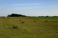 Plattelandslandschap met balen van stro Stock Afbeelding