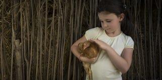 Plattelandsmeisje die in graan een kuiken houden Royalty-vrije Stock Foto
