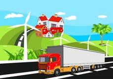 Plattelandsmening, groene heuvels, Landbouwbedrijfhuizen en molens Vector art vector illustratie