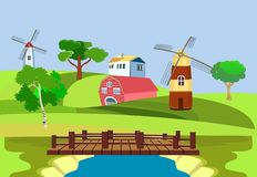 Plattelandsmening, groene heuvels, Landbouwbedrijfhuizen en molens Vector art royalty-vrije illustratie