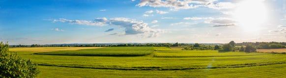 Plattelandspanorama van groen gebied Royalty-vrije Stock Afbeeldingen