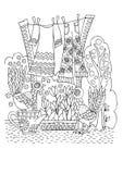 Plattelandsscène: hoe te om kleding en broek te drogen royalty-vrije illustratie