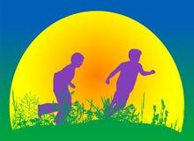 Plattelandsscène met kinderen het spelen Stock Foto