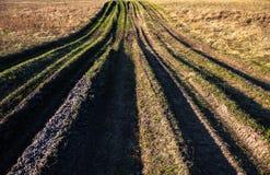 Plattelandsweg met gras wordt overwoekerd dat Royalty-vrije Stock Afbeelding
