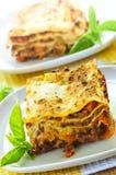 Platten der Lasagne Stockfoto