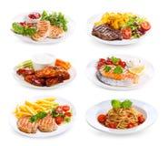 Platten des verschiedenen Fleisches, der Fische und des Huhns Lizenzfreie Stockbilder