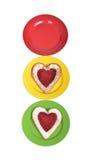 Platten mit Inneres geformten Bäckereikuchen Lizenzfreie Stockbilder