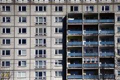 Plattenbau. CIRCA MARCH 2009 - BERLIN: the typical fassade of an East German Plattenbau (pre fabricated concrete building) appartement building, Berlin Stock Photography