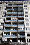 Plattenbau. CIRCA MARCH 2009 - BERLIN: the typical fassade of an East German Plattenbau (pre fabricated concrete building) appartement building, Berlin Stock Images