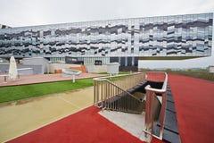 Plattenbereich im Freien in der russischen Wirtschaftsschule Skolkovo Lizenzfreies Stockbild