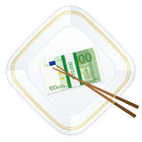 Plattenessstäbchen und hundert Eurosatz Stockfotografie
