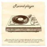 Plattenspieler auf dem alten Papierhintergrund Lizenzfreies Stockfoto